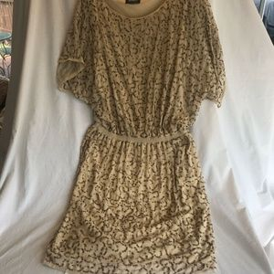 Adrianna Papell SZ LG Dress Pale Gold w/SequinsEUC